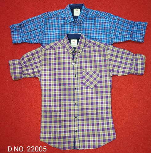 Listeded Plaid Long-Sleeved Button Down Collar Cotton Men Casual Shirt Not Fade Male Tops