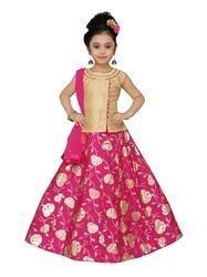 Rani Taffeta Lehenga Choli Set For Kids
