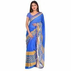 Casual Wear Ladies Designer Printed Cotton Saree, 6 m (with blouse piece)