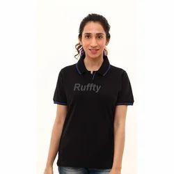 Ladies Black Cotton T Shirt, Size: S, M & L