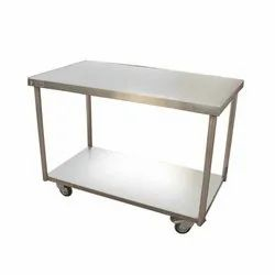 SS Rectangular Plain Table With Castor Wheels