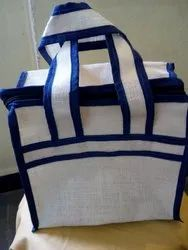 T1 Jute Office Lunch Bag ( Blue Color Fencing), Size: 10 X 9