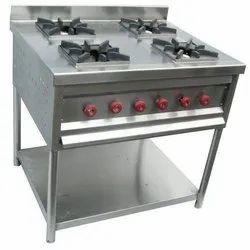 Stainless Steel LPG SS Four Burner Cooking Range, For Restaurant