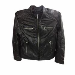 Black Ladies Full Sleeve Leather Jacket