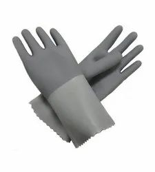 Grey Latex Supported Glove With Cotton Lining Inside