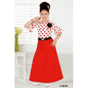 Chiffon Round Neck Printed Red One Piece Middy