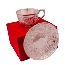 Silver Plated Cup & Saucers
