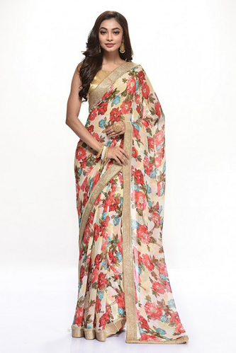 a7ccc5b71e9 Off White Floral Chain Georgette Art Printed Embroidery Saree, Rs ...