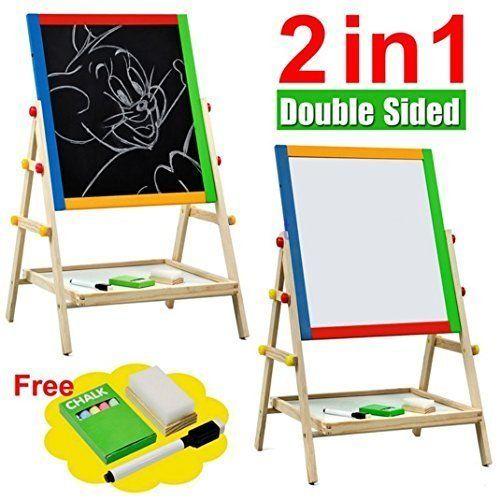 Craftdev 49 8 X 36 2 4 Cm Wooden White Black Board Slate Easel For Kids