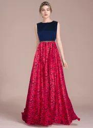 Multi Color Sleeveless Designer Gown