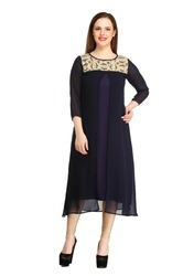 Cottinfab Women's Blue Sequin Kurti
