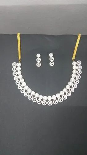 Diamond Stone Gold Plated Necklace Set For Women