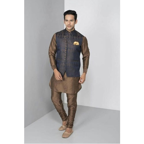 21f64632c4 Brocket Party Wear Mens Elegant Kurta Pajama With Nehru Jacket, Rs ...