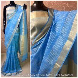 Handloom Linen Saree, Length: 6.3 m