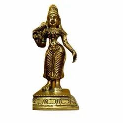 Golden (Gold Plated) 15 Inch Brass Meenakshi Statue, For Decoration, Packaging Type: Box