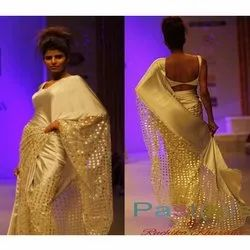 Satin Party Wear Saree, Packaging Type: Box