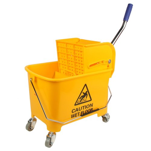 Yellow Plastic Wringer Mopping Trolley
