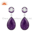 Amethyst Aventurine Gemstone 925 Sterling Silver Drop Earrings Jewelry
