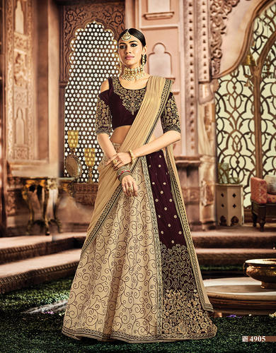54556de140 Amazing Cream, Maroon Silk, Velvet Embroidered Wedding Lehenga Choli
