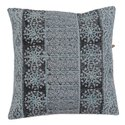 Embroidered Traditional Floral Print Blue Grey Cotton Cushion Cover