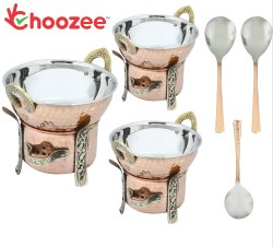 Choozee -Steel Copper Food Warmer with Kadhai Set of 3 Pcs with Serving Spoons (400ML, 600ML and 800