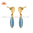 Gold Plated Silver Blue Chalcedony Gemstone Drop Earrings Manufacturer