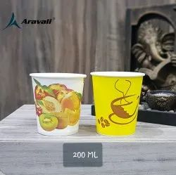 Yellow 200ml Printed Paper Cup, For Parties