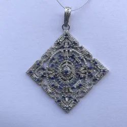 Natural Blue Sapphire & Real Diamond Pave Setting 925 Sterling Silver Pendant