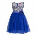 Kids Polyester & Cotton Blue Sleeveless Dress, Age: 2-3 Years