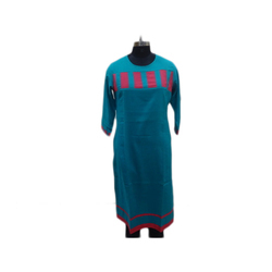 Blue Ladies Cotton 3/4th Sleeve Kurti, Size: S-XL
