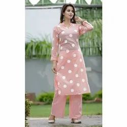 Printed Regular Ladies Polka Dot Cotton Kurti