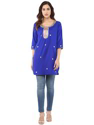 Gota Patti Short Kurta In Silk Cotton Blue Color