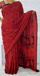 Red Cotton Bagh Traditional Hand Block Printed Sari