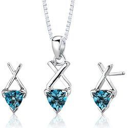 Trillion Shaped Gemstone Jewellery Set