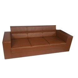 Brown Gujju Bazar Wooden 3 Seater Office Sofa