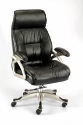 Black Leather Rotatable CEO Chair