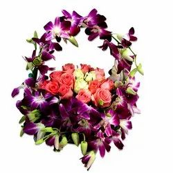 Basket Of Orchids & Roses
