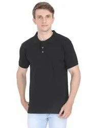 Mens Cotton Plain Black Collar T Shirt