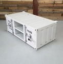 White Industrial Metal Coffee Table, Container Style
