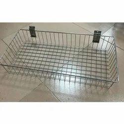 Stainless Steel Slatwall Basket, Size: 24x15x4 Inch