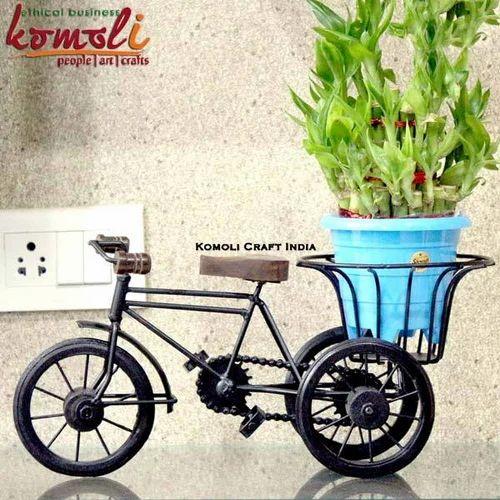 Black Wrought Iron Bicycle Planter Handmade Handicraft India