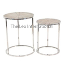 Decorative Stainless Steel Metal Coffee Table Wooden Top