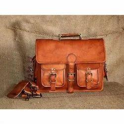 Brown Designer Mens Leather Laptop Bag, Capacity: 10 - 15 Kg