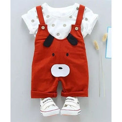 4306631073 Red And White Cotton Kids Baby Summer Dungaree Dress Set, Rs 488 ...