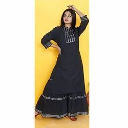 COTTON SHARARA WITH KURTIS