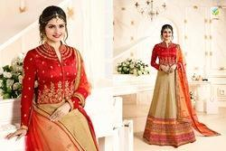 Gold And Maroon Colour In Dupian Silk Stylish Lehenga