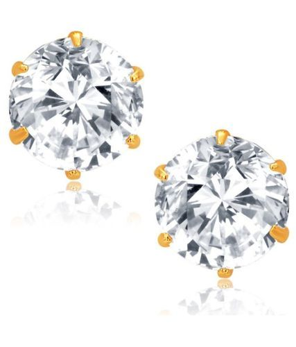 Fashion Frill Single Stone Round Shape Earring