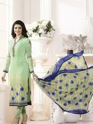 Designer Georgette Embroidered Traditional Semi Stitched Straight Churidar Suit