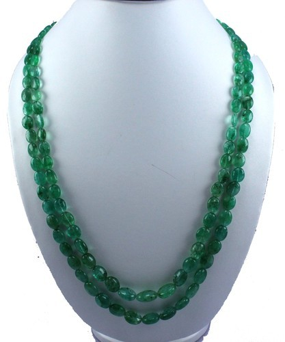 efe05c2ce0ac7 Emerald Oval Beads Necklace With 925 Sterling Silver Claps