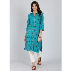 A-Line Cotton 3/4th Sleeve Stitched Designer Printed Kurti, Wash Care: Handwash